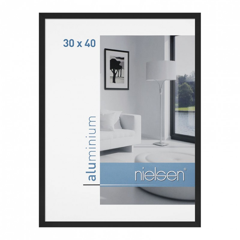 cadre aluminium 30x40 cm noir nielsen galerie photo art et d coration. Black Bedroom Furniture Sets. Home Design Ideas