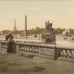 Photochrome ancien, Place de la Concorde et Tuileries, vers 1895