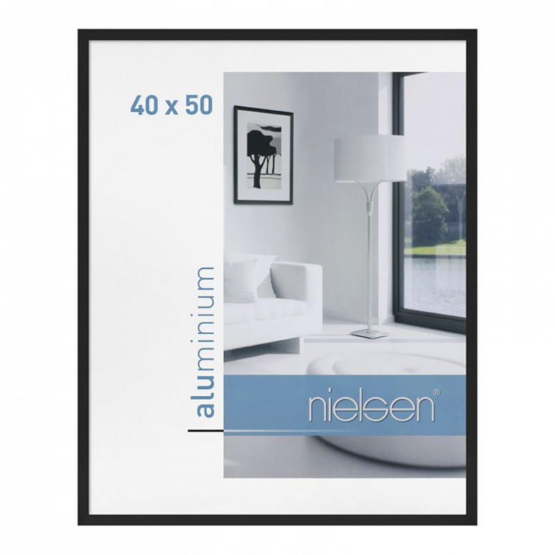 cadre aluminium 40x50 cm noir nielsen galerie photo art et d coration. Black Bedroom Furniture Sets. Home Design Ideas