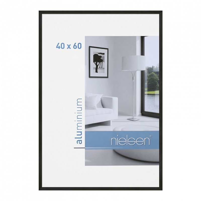 cadre aluminium 40x60 cm noir nielsen galerie photo art et d coration. Black Bedroom Furniture Sets. Home Design Ideas