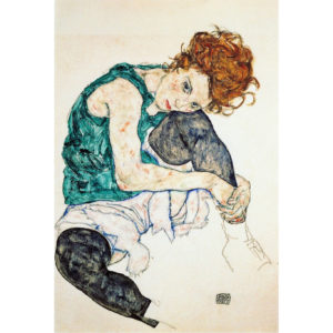 "Egon Schiele ""Sitting woman with legs drawn up"" – Art lithograph"