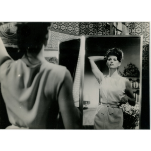 "Claudia Cardinale in the movie ""Les lions sont lâchés"" (1960) – Silver original stamped print"
